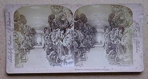 Catacombs, Cemetery at Lacken, Belgium.: Original Stereoview Card.
