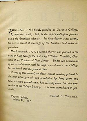 CHARTER OF A COLLEGE TO BE ERECTED IN NEW JERSEY BY THE NAME OF QUEEN'S COLLEGE For the ...