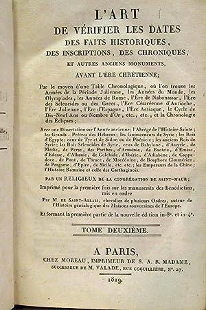 L'ART DE VÉRIFIER LES DATES DES FAITS HISTORIQUES, DES INSCRIPTIONS, DES CHRONIQUES ET ...