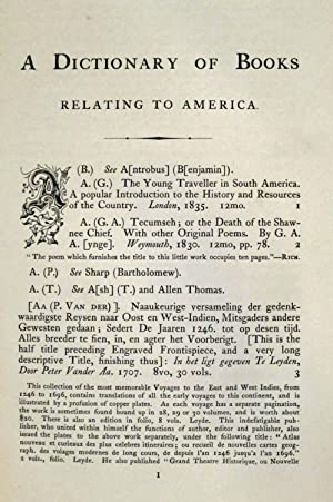 BIBLIOTHECA AMERICANA DICTIONARY OF BOOKS RELATING TO AMERICA FROM ITS DISCOVERY TO THE PRESENT ...