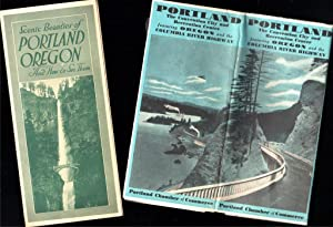 (1) AIRPLANE MAP OF THE STATE OF OREGON (2) SCENIC BEAUTIES OF PORTLAND OREGON AND HOW TO SEE THEM
