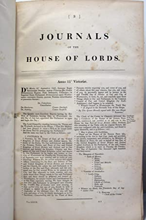 THE JOURNALS OF THE HOUSE OF LORDS (1847- 48, VOLUME 80) Beginning Anno Undecimo Victoriae 1847.: ...