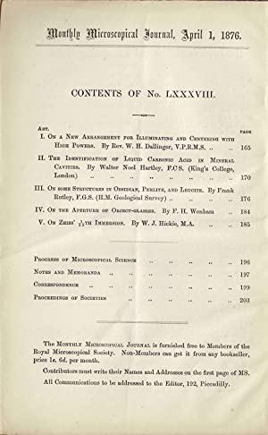 THE MONTHLY MICROSCOPICAL JOURNAL NO. LXXXVIII, APRIL 1, 1876 Transactions of the Royal Microscopic...