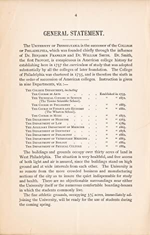 UNIVERSITY OF PENNSYLVANIA (1885) Catalogue & Announcement 1884-85, Department of Biology: ...