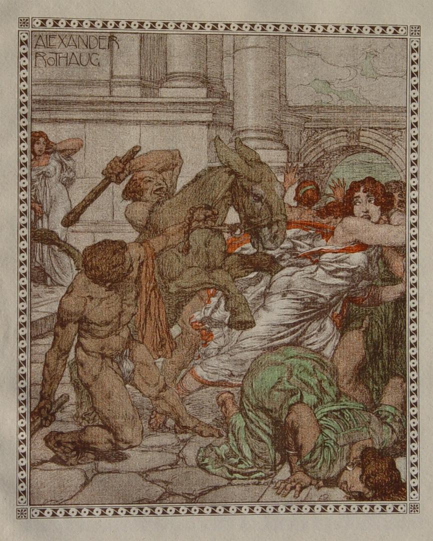"""Am Markt"""" originale breitrandige Lithographie ca. 19x16cm;: Rothaug, Alexander:"""