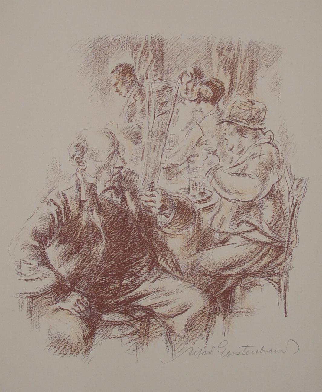 """Wiener Kaffeehaus"""" originale Farb-Lithographie ca. 28x24cm; auf: Gerstenbrand, Alfred (geb."""