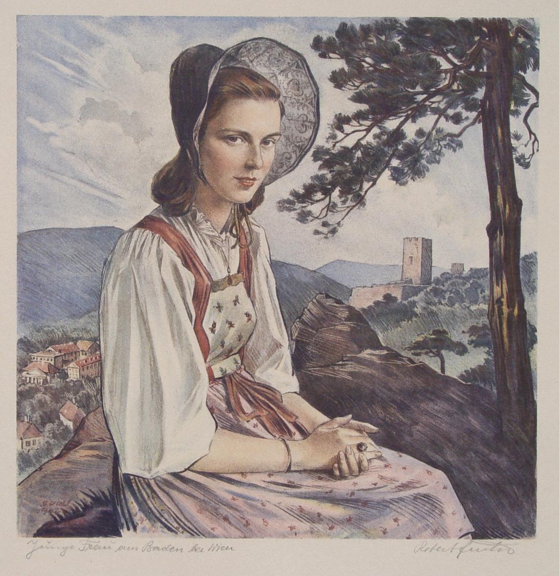 """Junge Frau Aus Baden Bei Wien"""" Originale Farb-Lithographie"""