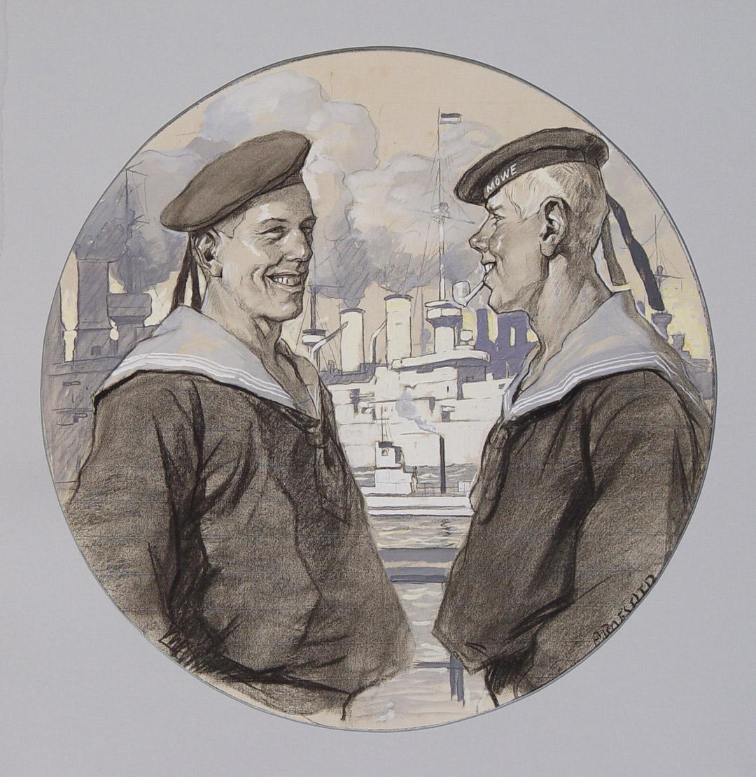 """Matrosen"""" originale aquarellierte Kohlezeichnung ca.55x55cm (Darstellung/image size): Roeseler, August (1866"""