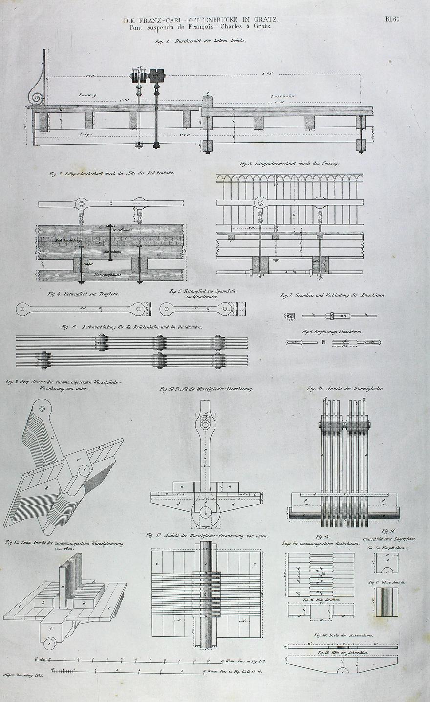 """Die Franz-Carl Kettenbrücke in Gratz"""" originale Feder-Lithographie: Graz:"""