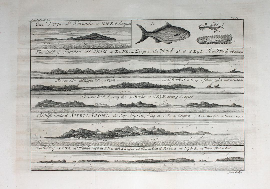"""""""""""Cape Verga al Furnado. The Island of Tamara [...] Sierra Liona [ Island of Tota [...]"""""""" originaler Kupferstich/copper engraving ca.24x34cm (Darstellung/i"""