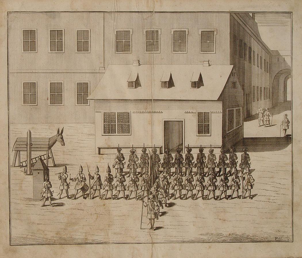 "Ein Corps de Guardes"" originaler Kupferstich/copper engraving: Polizei:"