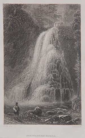 """Schwarzbachfall"""" originaler Stahlstich ca. 16x10cm von Hinchliff: Hinchliff, John James"""