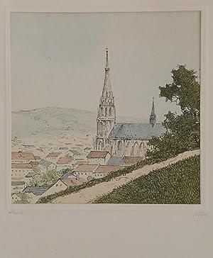"""Linz"""" originale Farblithographie 18x18cm unter Passepartout (29x21cm): Koziol, Fritz:"""