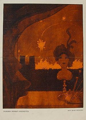 """Pariser Herbst-Neuheiten"""" originale Offset-Lithographie ca. 30x23cm von: Erler, Fritz (1868"""