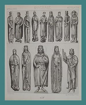 """Statuen gotischer Dome"""" originale Lithographie mit Tonplatte: Mittelalter:"""