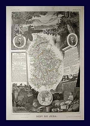 """Dept. Du Jura"""" originale grenzkolorierte Stahlstich-Karte ca.40,5x27cm: Frankreich:"""