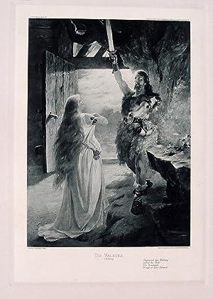 """Die Walküre. I. Aufzug"""" originale Heliogravure (hier: Leeke, Ferdinand (1859"""