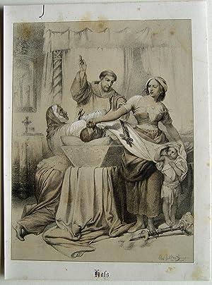 """Hass"""" originale Kreide-Lithographie über Tonplatte von Dircks: Geiger, Johann Peter"""