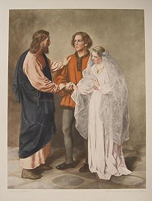 """Jesus und das Brautpaar von Kana"""" (Der Hochzeiter in altdeutscher/germanischer Tracht) ..."""