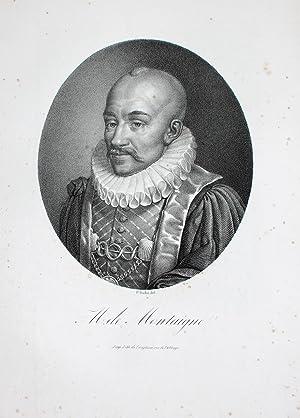 "Michel Montaigne"" originale Lithographie ca. 22x18,5cm (Darstellung/image: Montaigne, Michel Eyquem"