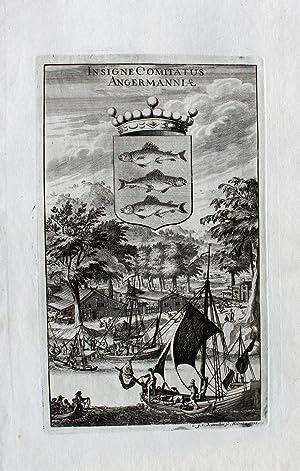 """Insigne Comitatus Angermannia"""" originaler Kupferstich von zwei: Schweden:"""