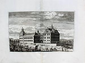 """Lööfstad"""" originaler Kupferstich von zwei Platten ca.21x33cm: Schweden:"""