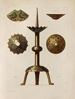 """Kirchenleuchter"""" originaler handkolorierter Kupferstich ca.26x19cm (Plattenrand/plate mark) von..."""