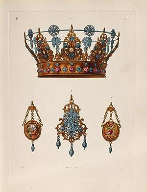 """Eine Brautkrone von Silber"""" originaler handkolorierter Kupferstich ca.26x19cm (Plattenrand/..."""
