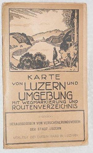 Karte von Luzern und Umgebung mit wegmarkierung und routenverzeichnis. 1:25000: ...