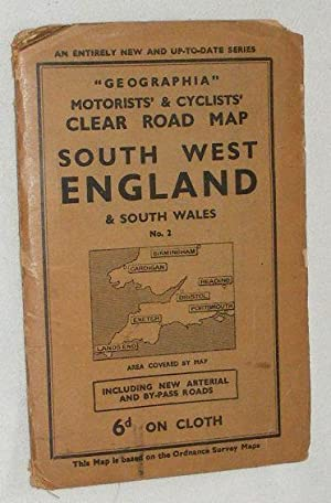 'Geographia' Motorists' & Cyclists' Clear Road Map, South West England & South Wales. No.2
