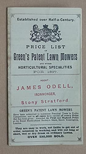 Price List of Green's Patent Lawn Mowers and other Horticultural Specialities for 1897