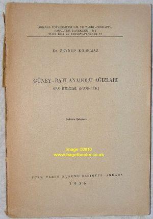 Güney-Bati Anadolu Agizlari: Ses Bilgisi (Fonetik). Ankara Üniversitesi dil ve ...
