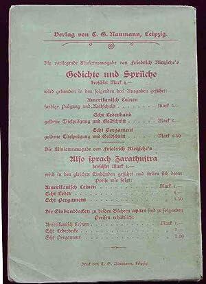 Gedichte und Spruche (Poems and Maxims): NIETZSCHE, Friedrich.