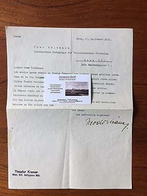 Maschinenschr. Brief mit eigenhändiger Unterschrift und Absender-Stempel.: Kramer, Theodor (1897-1958)