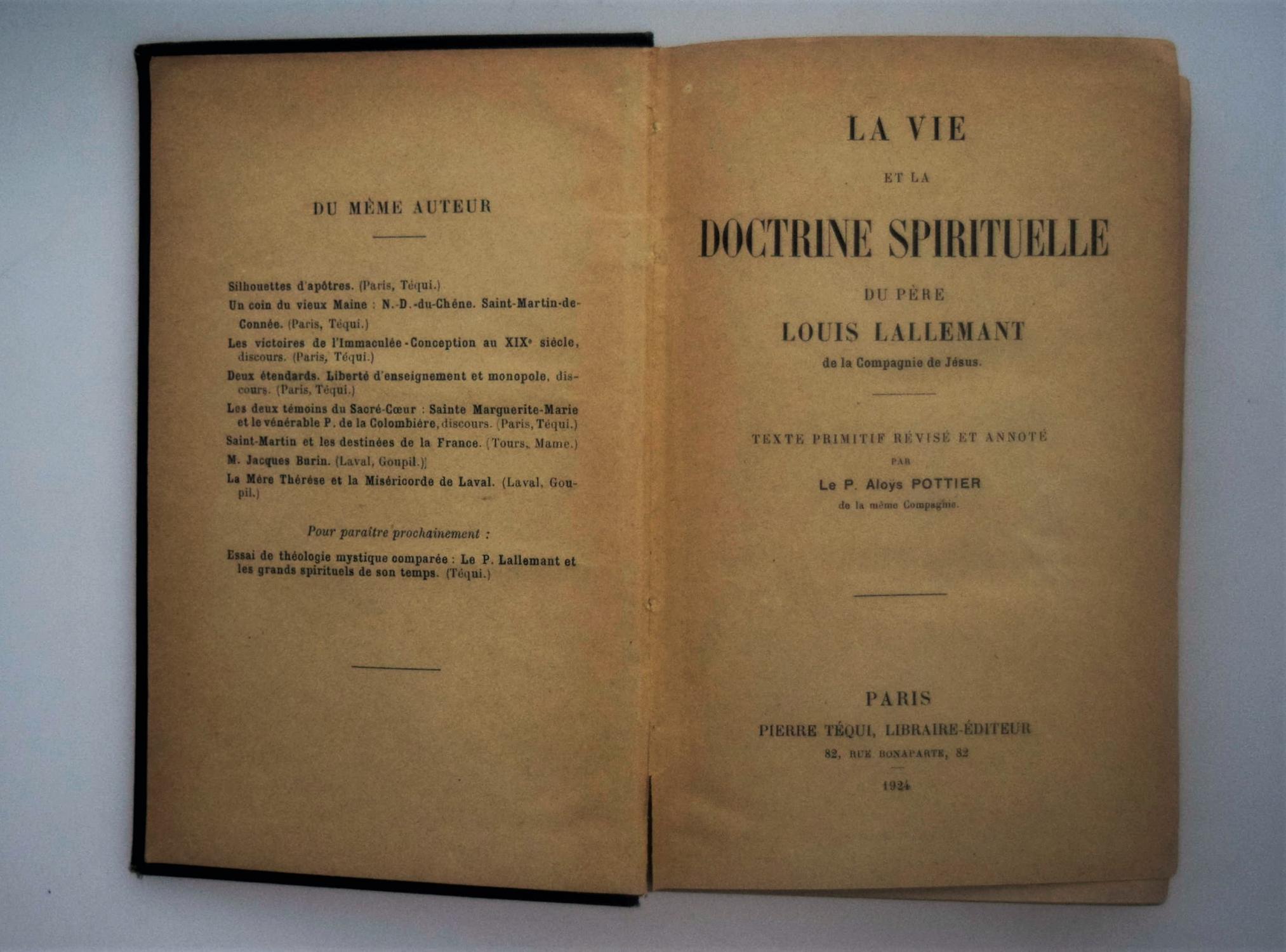 La Vie Et La Doctrine Spirituelle Du Pere L