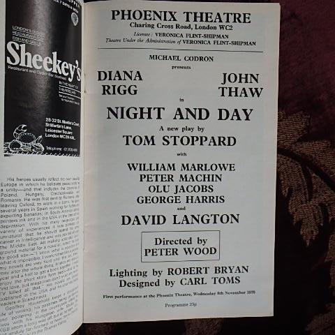 Tom Stoppard Night And Day Phoenix Theatre London Program 1979