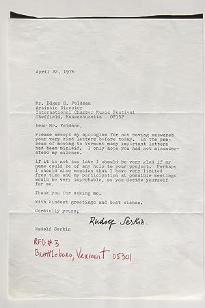 Letter - Rudolf Serkin: Serkin, Rudolf