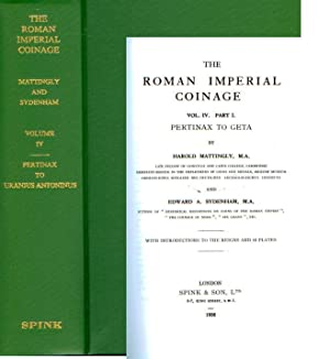 ROMAN IMPERIAL COINAGE IV. PERTINAX TO URANIUS ANTONINUS: Mattingly & Sydenham,
