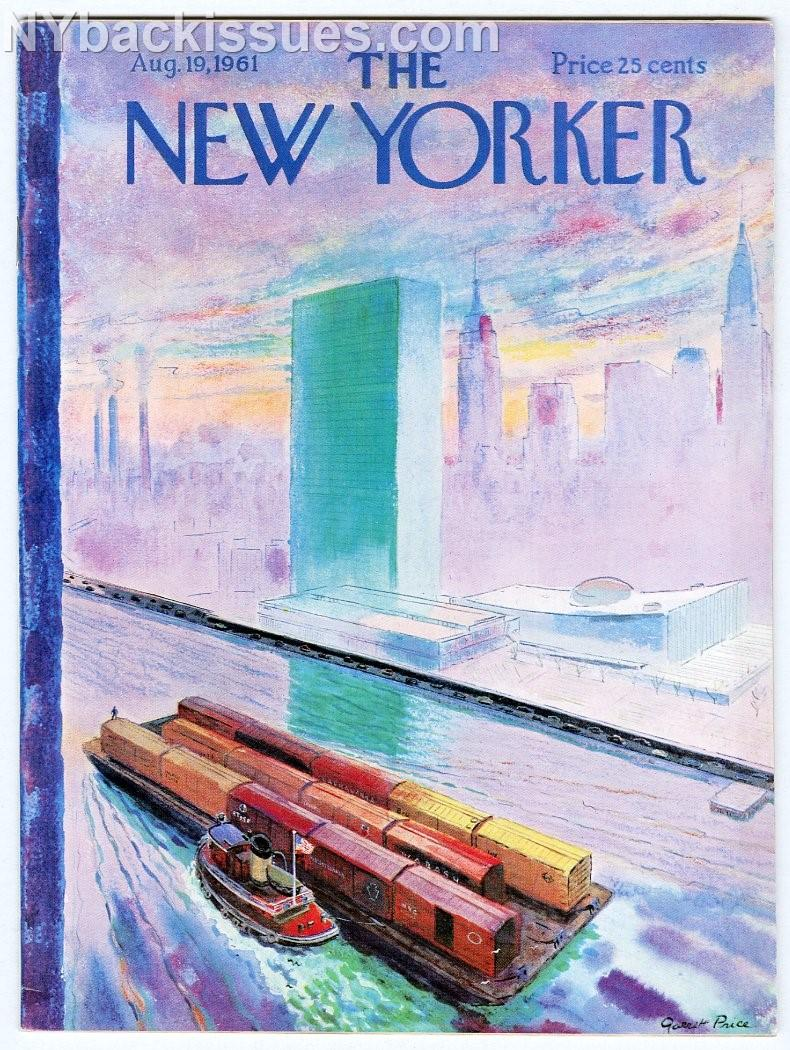 New_Yorker_magazine_August_19_1961_East_River_barge_tugboat_United_Nations_VF___Comme_Neuf_Couverture_souple
