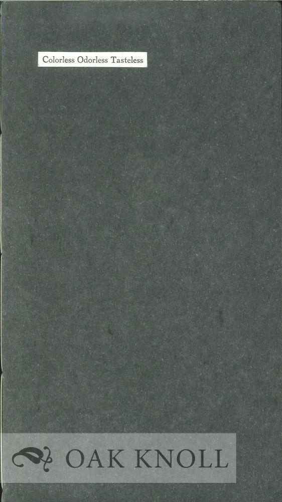 COLORLESS ODORLESS TASTELESS Casey, John Albert [ ] [Softcover] (bi_14837490807) photo