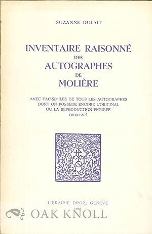 INVENTAIRE RAISONNE DES AUTOGRAPHES DE MOLIÈRE: Dulait, Suzanne
