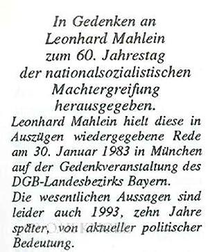 50 JAHRE NATIONAL-SOZIALISTISCHE MACHTERGREIFUNG: Mahlein, Leonhard