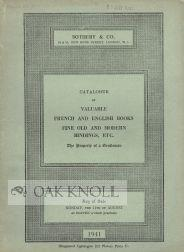 CATALOGUE OF VALUABLE FRENCH AND ENGLISH BOOKS FINE OLD AND MODERN BINDINGS