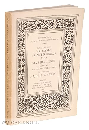 CATALOGUE OF VALUABLE PRINTED BOOKS AND FINE BINDINGS FROM THE CELEBRATED COLLECTION, THE PROPERTY ...