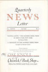 "FESTINA LENTE"", THE HAMMER CREEK PRESS OF: Burke, Jackson"