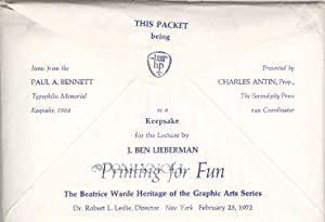 THIS PACKET BEING ITEMS FROM THE PAUL A. BENNETT TYPOPHILES MEMORIAL KEEPSAKE, 1968, PRESENTED BY ...