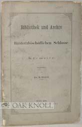 BIBLIOTHEK UND ARCHIV IM FÜRSTERBISCHÖFLICHEN SCHLOSSE ZU KREMSIER: Dudik, B.