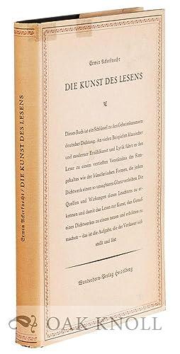 KUNST DES LESENS.|DIE: Ackerknecht, Erwin