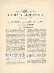 WORKING LIBRARY OF MUSIC: MR PAUL HIRSCH: Muir, Percy H.