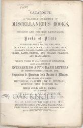 CATALOGUE OF A VALUABLE COLLECTION OF MISCELLANEOUS BOOK, IN ENGLISH AND FOREIGN LANGUAGES, ...